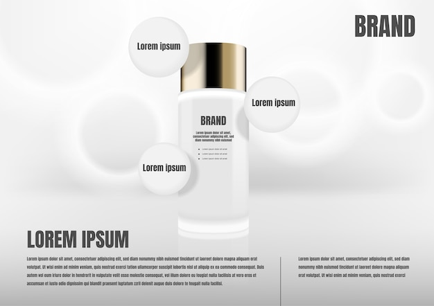 Cosmetic product with three circle icons
