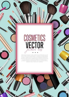 Cosmetic products assortment realism banner
