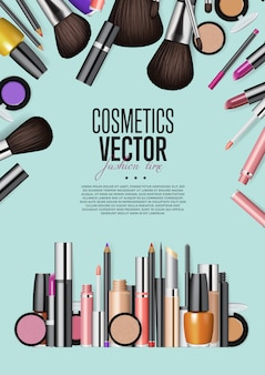 Cosmetic products assortment realism vector informative poster template