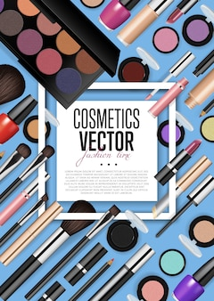 Cosmetic products assortment realism vector poster template
