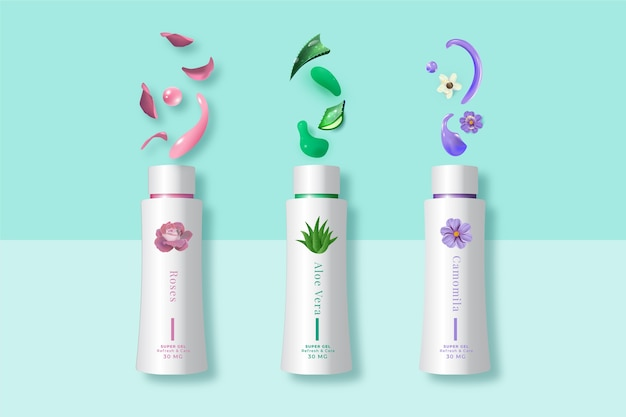 Cosmetic products cream with different plants ad