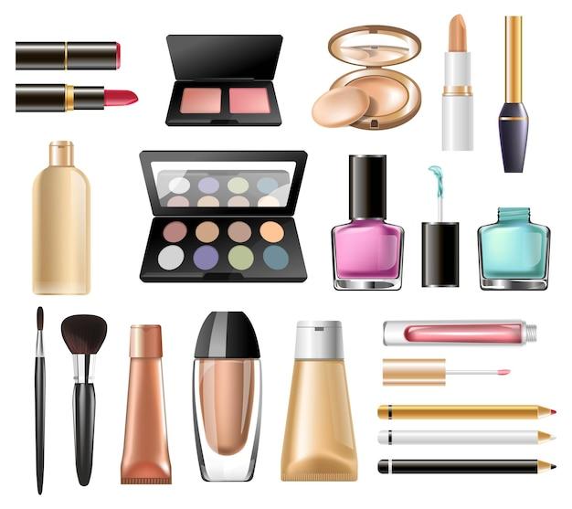 Косметические продукты для макияжа и ухода за кожей вектор