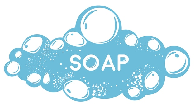 Cosmetic products and hygiene, isolated soap y water with bubbles