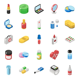 Cosmetic products isometric icons pack