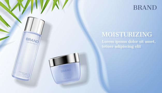 Cosmetic products on milk river with small leaves