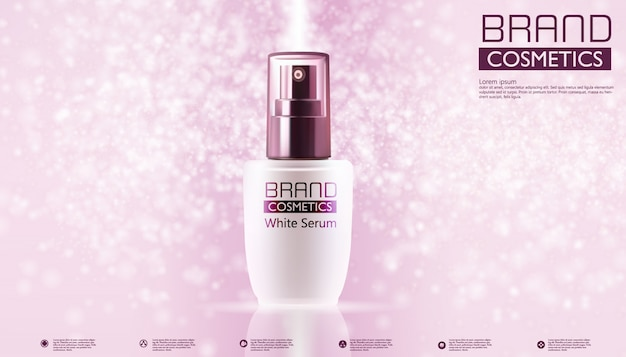 Cosmetic products on pink color and text template