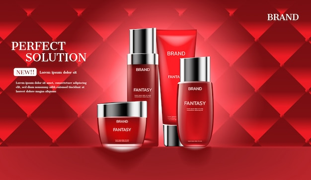 Cosmetic products on red coach with glowing light