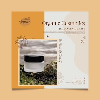 Cosmetic products square flyer template