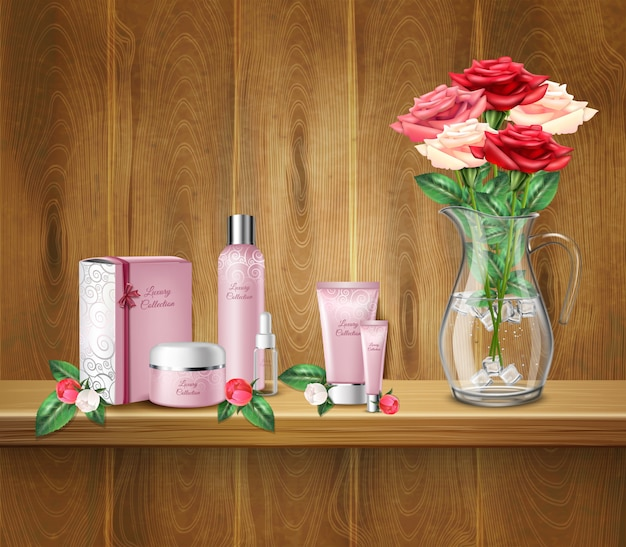 Cosmetic products and vase with roses on shelf
