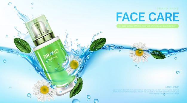 Cosmetic products in water splash with herb