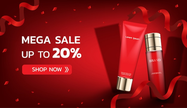 Cosmetic products with red ribbons and confetti