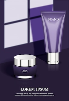 Cosmetic products with shadow on window background