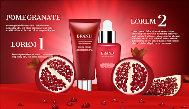 Cosmetic products with slice pomegranate and small seeds on red flannel