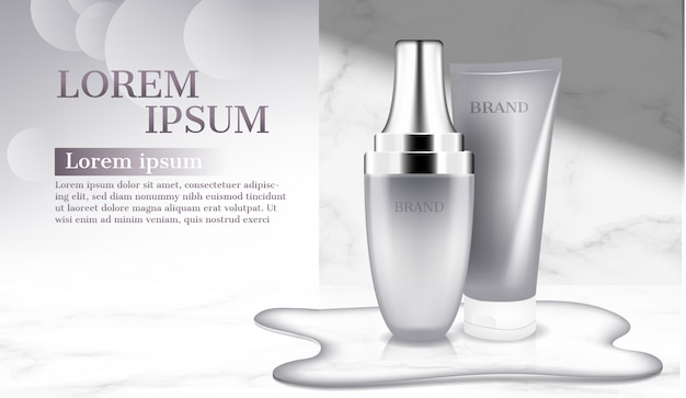 Cosmetic products with water on floor advertisement