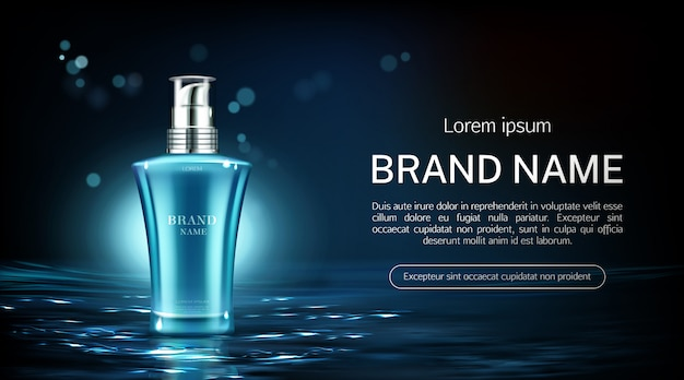 Cosmetic pump bottle banner
