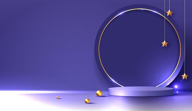 Косметический фиолетовый фон и подиум премиум-класса для брендинга и упаковки презентации продукта. студийная сцена с тенью ночного звездного фона. векторный дизайн.