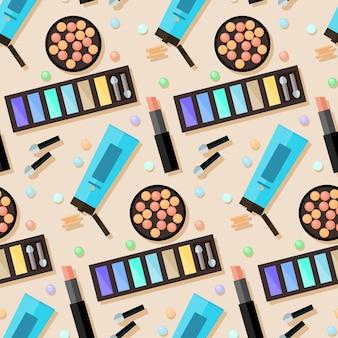 化粧品のシームレスなパターンの背景。デザインで使用するための平らな化粧品。