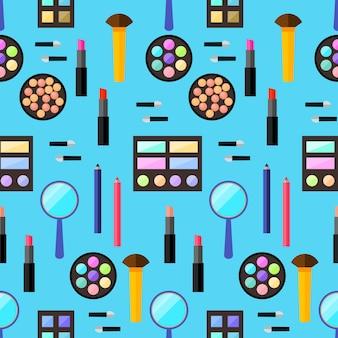 화장품 완벽 한 패턴 배경입니다. 트렌디한 플랫 스타일. 디자인에 사용하기 위해 세련된 파란색 덮개에 격리된 밝은 제품
