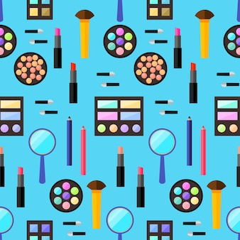 Cosmetic seamless pattern background. trendy flat style. bright prodacts isolated on stylish blue cover for use in design