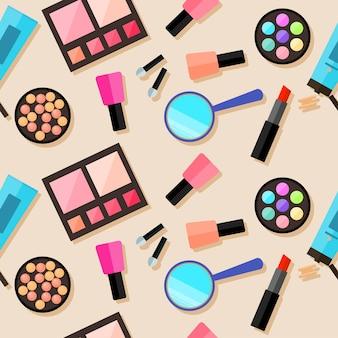 化粧品のシームレスなパターンの背景。トレンディなフラットスタイル。デザインで使用するためのスタイリッシュなベージュのカバーに分離された明るい製品