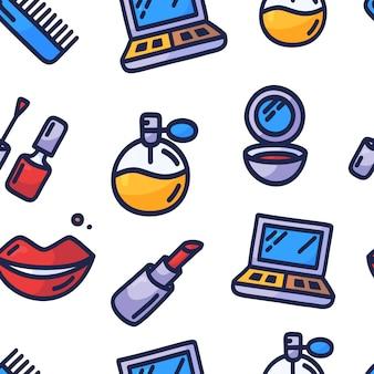 化粧品のシームレスなパターン。手描き漫画落書き化粧品-マニキュア、ミラー、香水、口紅、パウダーブラシ、ネックレス、マスカラ、パレットとのシームレスなパターン