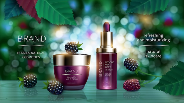 Cosmetic series with wild berries realistic
