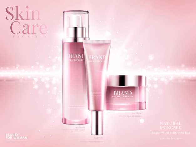 Cosmetic set ads, light pink package  on pink background with glittering bokeh elements in  illustration