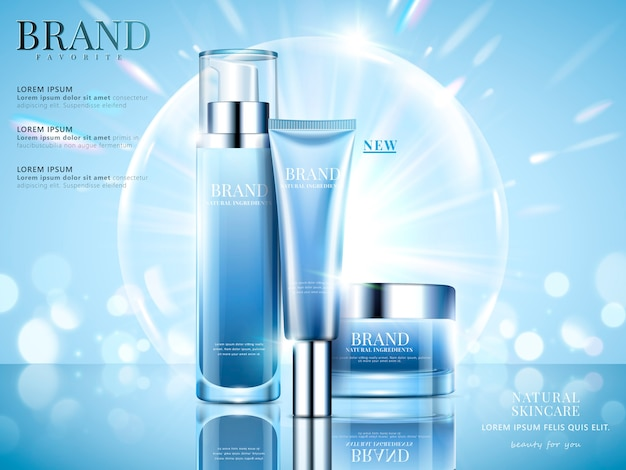 Cosmetic set ads, sky blue package  on light blue background with glittering bokeh and bubbles in  illustration