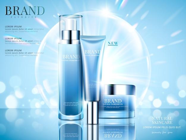 化粧品セット広告、イラストのきらびやかなボケと泡と水色の背景にスカイブルーのパッケージ