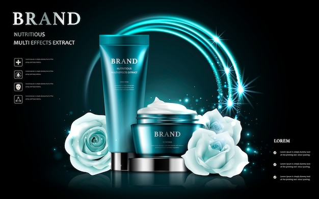 Cosmetic set ads, white rose with realistic container isolated