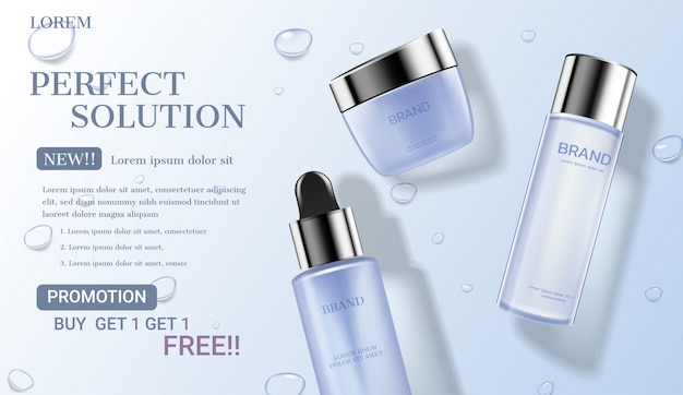Cosmetic set with water drop background