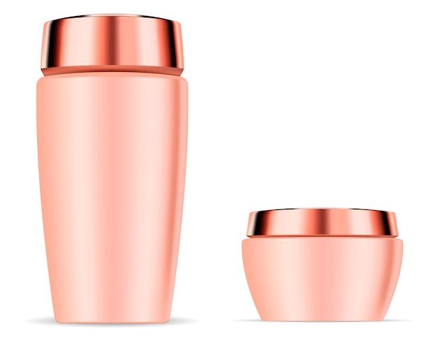 Cosmetic shampoo bottle and cream jar mockup set.