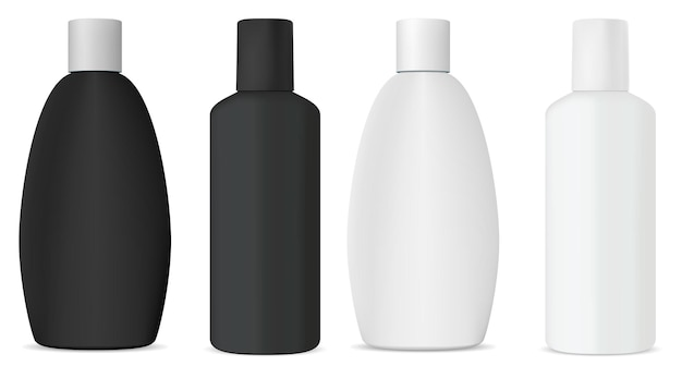Cosmetic shampoo bottle white mockup, 3d vector design template. isolated beauty product container for gel, liquid soap, realistic plastic template. bathroom collection