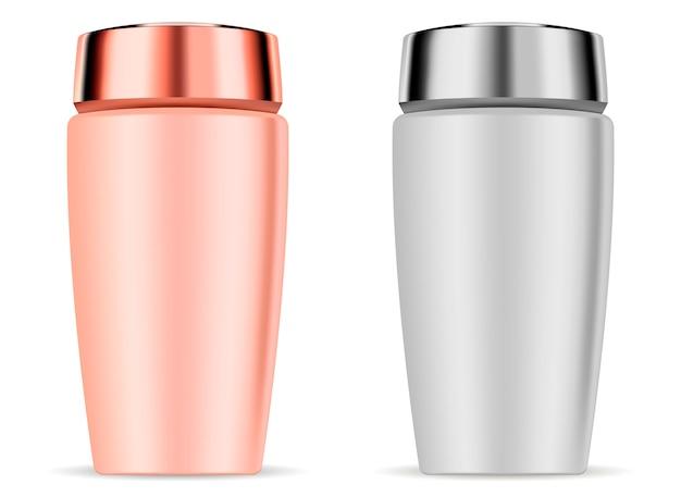 Cosmetic shampoo bottles mockup set