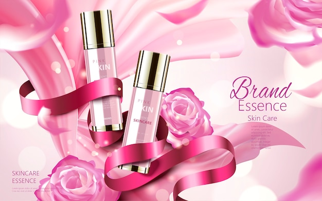 Cosmetic skin care ads illustration