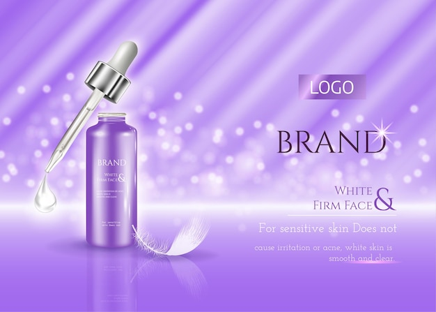 Cosmetic skin care ads realistic vector cream jar and serum tube with cosmetics on purple shining