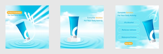 Cosmetic social media post template banner with water ripple, bubble shield arrow, pedestal