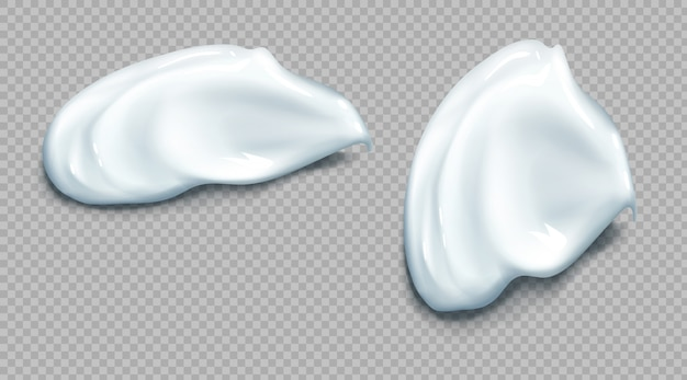 Cosmetic or sour cream smear realistic set