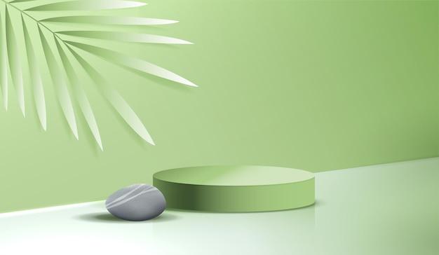 Косметический спа на зеленом фоне и подиум премиум-класса для брендинга и упаковки презентации продукта. студийная сцена с листом и камнем. векторный дизайн.