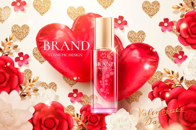 종이 꽃과 3d 그림에서 붉은 심장 모양의 풍선 화장품 스프레이 병 광고