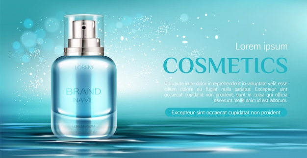 Cosmetic spray bottle banner