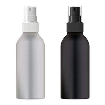 Cosmetic spray bottle. black and white packaging.