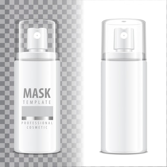 Cosmetic spray bottle. dispenser for cream, balsam and other cosmetics. with lid and without.  template  your