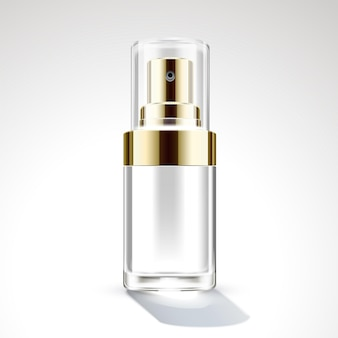 Cosmetic spray bottle package design in 3d illustration