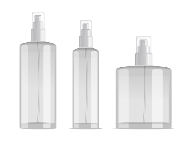 Cosmetic spray bottles set isolated on white background.