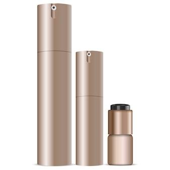 Cosmetic spray can set. dispenser bottles