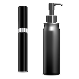 化粧品スプレー。白い背景の上のプラスチック容器の空白、、。ポンプクリームチューブテンプレート。美容製品用ディスペンサーボトルモックアップ、ラウンドパック。リアルな香水デザイン