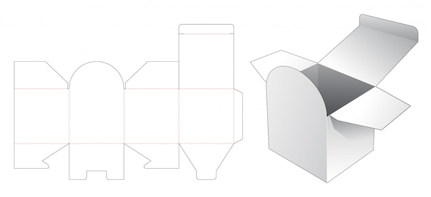 Cosmetic square box die cut template