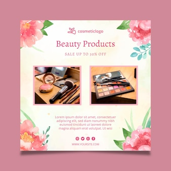 Cosmetic squared flora flyer template