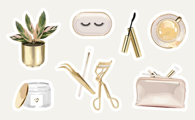 Cosmetic stickers set with eyelash extension tools and modern objects